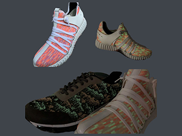 Shoes have several kinds of special yarn, UV yarn, absorb light source to release light source, and reflective material.